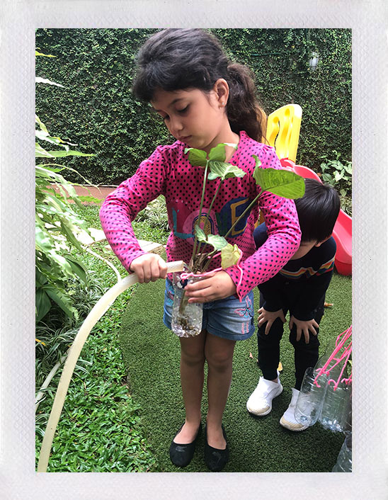 At Ceria Montessori childrens are encouraged to be in touch with nature and learn how to take care of their surroundings, through these positive habits all of their basic senses will be stimulated